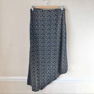Zara Metallic Studded Asymmetrical Hem Midi Skirt